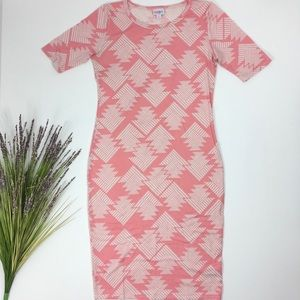 LulaRoe | Pink White Pattern Julia Dress